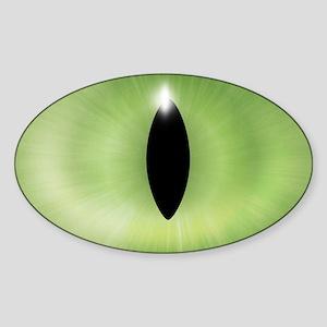 Cat's Eye Green Halloween Oval Sticker