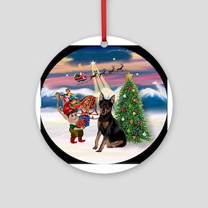 Christmas Tree & Min Pin Keepsake (Round)