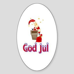 God Jul Santa Chimney Oval Sticker