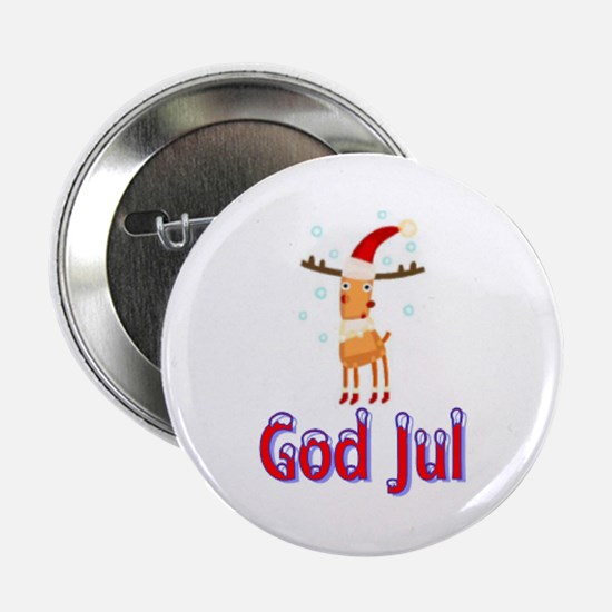 "God Jul Reindeer 2.25"" Button"