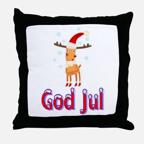 God Jul Reindeer Throw Pillow