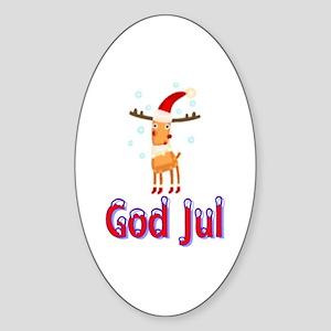 God Jul Reindeer Oval Sticker