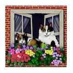 CALICO CATS WINDOW Tile Coaster