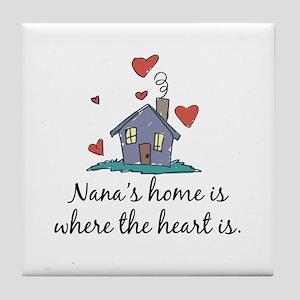 Nana's Home is Where the Heart Is Tile Coaster