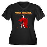 Viva Espana Women's Plus Size V-Neck Dark T-Shirt
