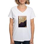 Mom's Hanukka Menorah Women's V-Neck T-Shirt