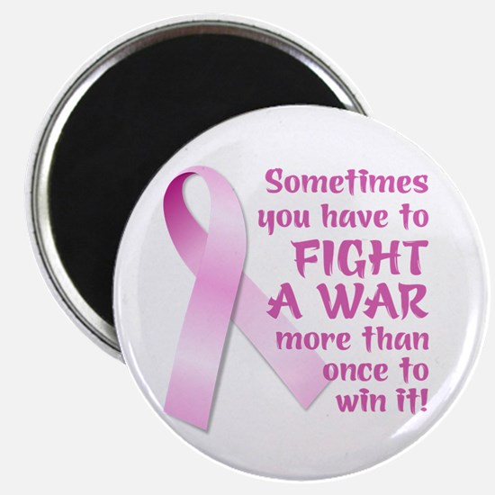 """FIGHT A WAR (PINK RIBBON) 2.25"""" Magnet (100 pack)"""
