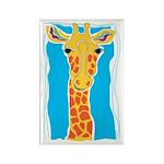 "Gold Giraffe ""Longneck"" Rectangle Magnet"