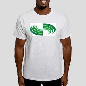 Green Round Stripes Ash Grey T-Shirt