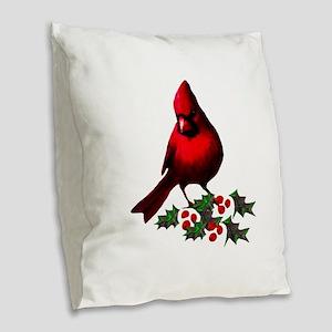 Christmas Cardinal Burlap Throw Pillow