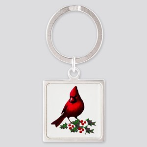 Christmas Cardinal Square Keychain