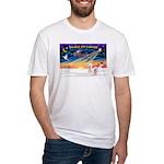 XmasSunrise/2 Westies Fitted T-Shirt