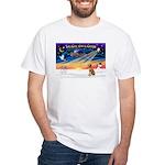 XmasSunrise/ Vizsla #1 White T-Shirt