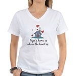 Papa's Home is Where the Heart Is Women's V-Neck T