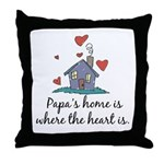 Papa's Home is Where the Heart Is Throw Pillow