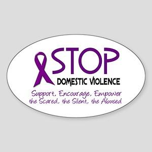 Stop Domestic Violence 2 Oval Sticker