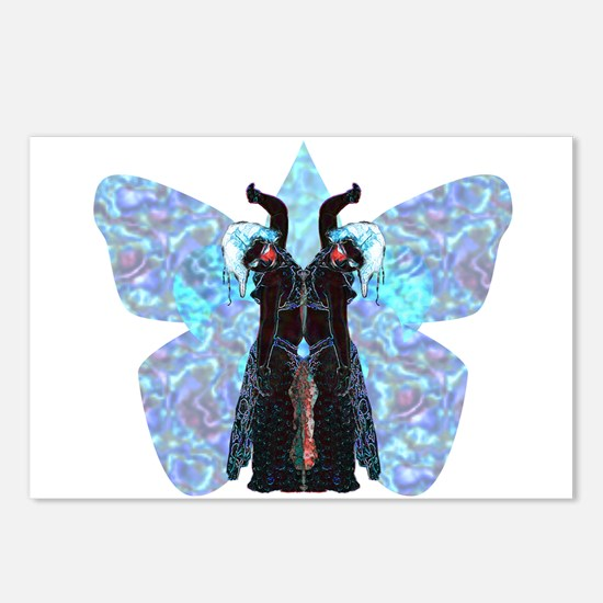 black and blue butterfly Postcards (Package of 8)