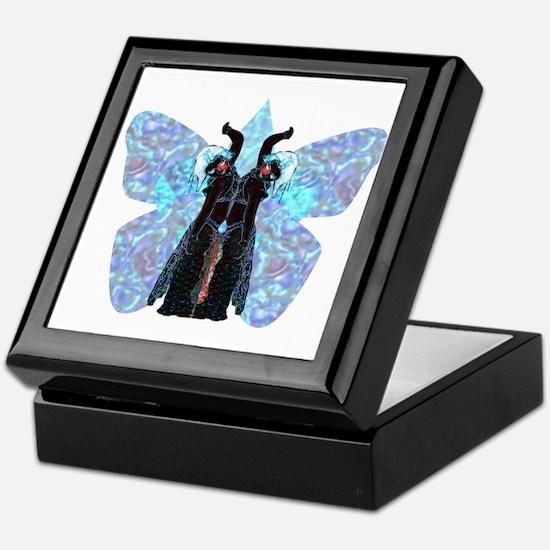 black and blue butterfly Keepsake Box