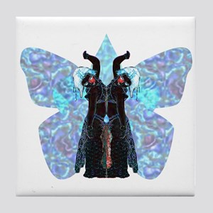 black and blue butterfly Tile Coaster