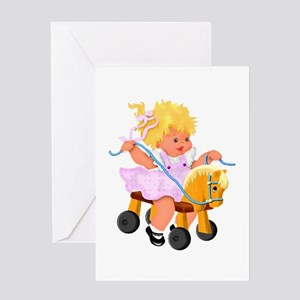 Little Girl Toy Horse Greeting Card