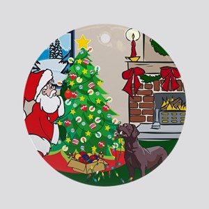 Deck The Halls Chocolate Lab Ornament (Round)