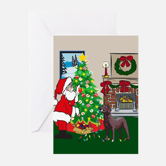 Deck The Halls Chocolate Lab Greeting Cards (Pk of