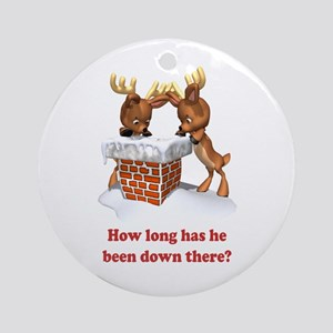 HOW LONG HAS HE BEEN DOWN THERE? Ornament (Round)