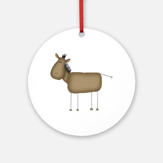 Stick Figure Horse Ornament (Round)