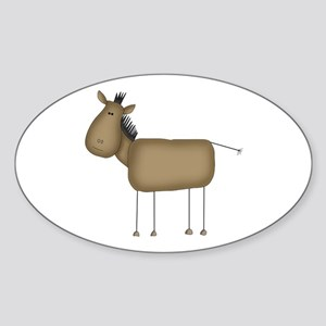 Stick Figure Horse Oval Sticker