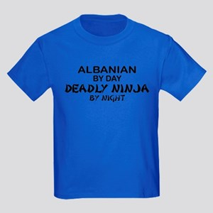 Albanian Deadly Ninja by Night Kids Dark T-Shirt