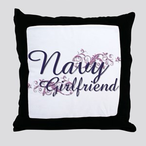 Navy Girlfriend Throw Pillow