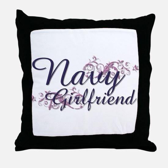 Navy Girlfriend Throw Pillow