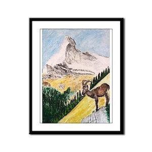 Ibex Mountain Framed Panel Print