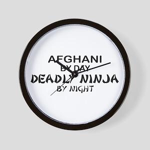 Afghani Deadly Ninja by Night Wall Clock