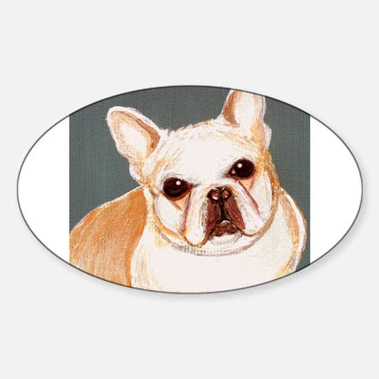 dog_french_q01 Oval Decal