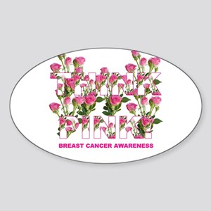 THINK PINK Roses Oval Sticker