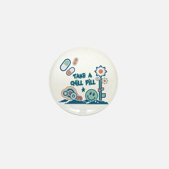 Chill Pill Retro Collage Design Mini Button