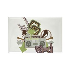 Respect Boom Box Grunge Design Rectangle Magnet (1