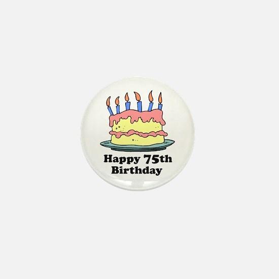 Happy 75th Birthday Mini Button