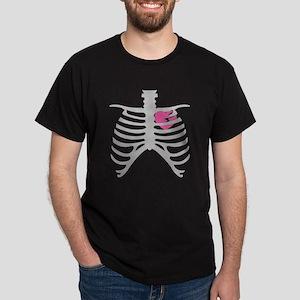 Broken Torn Heart in Ribcage Design Dark T-Shirt