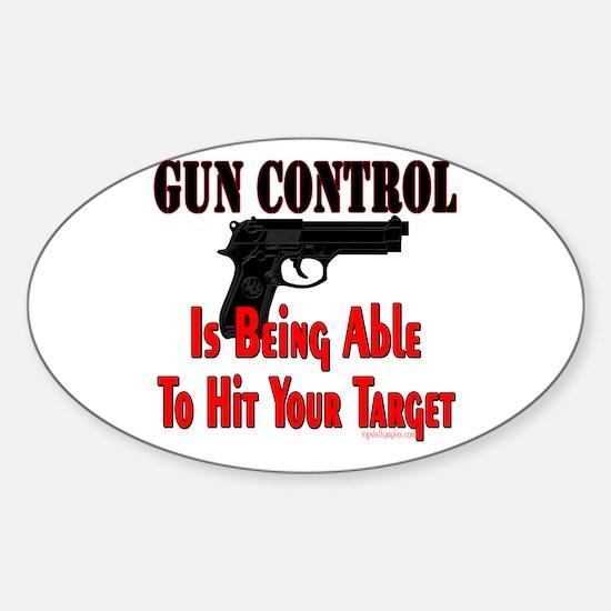 GUN CONTROL ~ HANDGUN Oval Decal