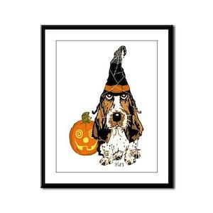 Halloween Pumkin Basset Framed Panel Print