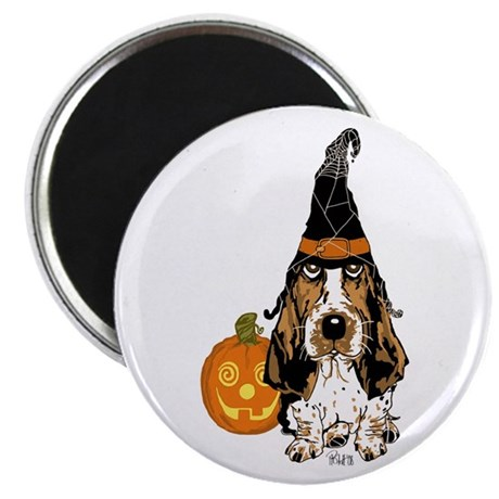 "Halloween Pumkin Basset 2.25"" Magnet (10 pack"