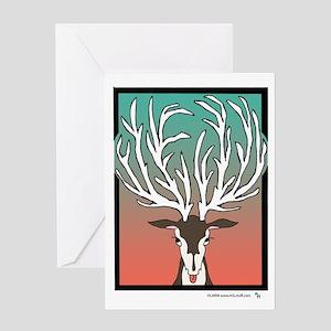 Red/Green Reindeer Greeting Card