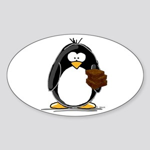 Chocolate Brownie Penguin Oval Sticker