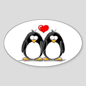Love Penguins Oval Sticker