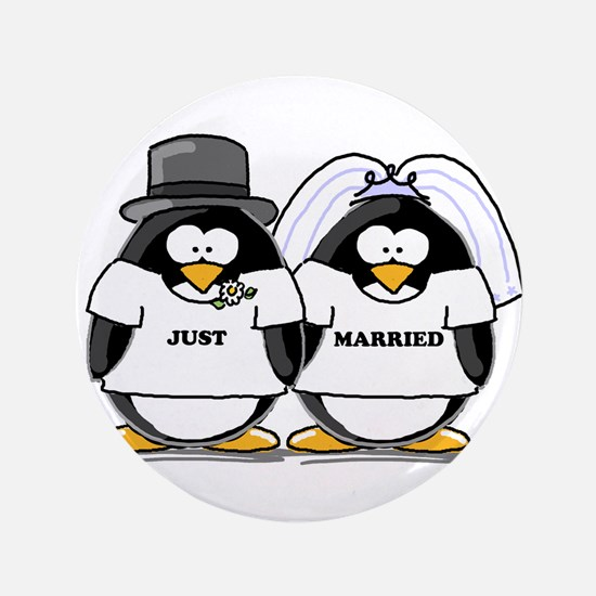 "Just Married Bride and Groom 3.5"" Button"