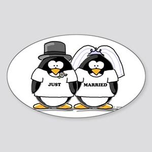 Just Married Bride and Groom Oval Sticker