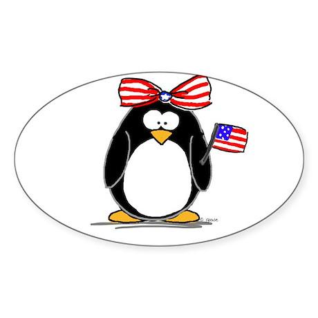 Patriotic Girl penguin Oval Sticker
