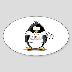 Rhode Island Penguin Oval Sticker